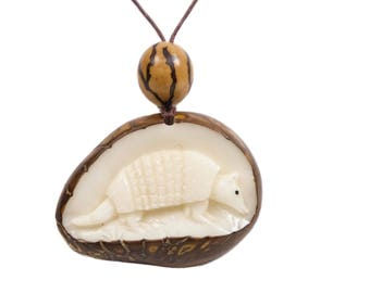 Tagua Nut Necklace: Armadillo (1153-N354)