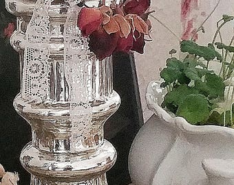 French shappy candle chandelier, candle holder, candle stand farmer silver