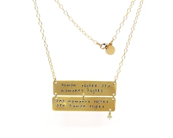 Women's Rights Hand Stamped Necklace, Inspirational Women's Necklace, women's rights Jewelry, human rights are women's rights