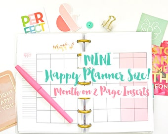 MINI Happy Planner Month on 2 Pages Calendar Planner Insert Printable Monthly PDF Instant Download