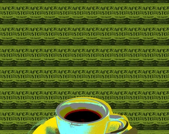 Coffee cup Pop art poster - canvas