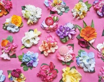 Multicoloured Artificial Flower Hair Clip
