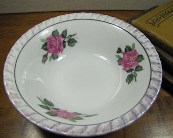 Vintage Small Serving Bowl - Purple Lusterware Rim - Pink Roses