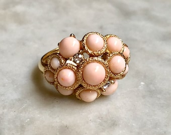 Avon Faux Coral and Rhinestone Gold Cocktail Ring