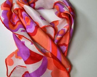 Vintage Silk Lady Heritage Pink Floral Scarf Robinson & Golluber 21 inch Sq