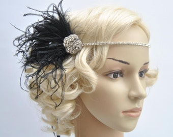 Crystal Rhinestone Headband Headpiece, 1920s flapper gatsby Headband, Wedding Headband, rhinestone feather Headband