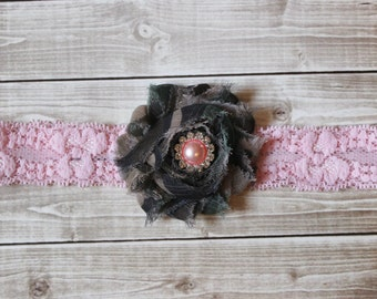Camouflage headband, baby pink lace camouflage headband, Army headband, military headband