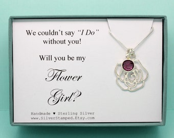 Gift for Flower girl invite sterling silver necklace Swarovski Birthstone Will you be my Flower girl Bridesmaids' gifts wedding necklaces