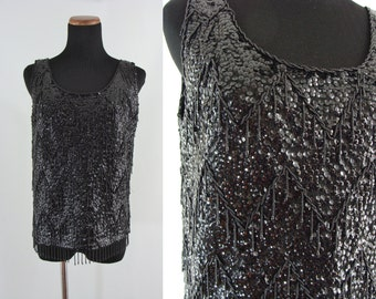 Vintage Sixties Blouse - 1960s Sequined Blouse - 60s Beaded Blouse - Black Sleeveless Blouse - Wool Blouse