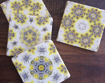 Sun & Sky Kaleidoscope coasters - gift for her, housewarming gift, gift for mom, spring decor