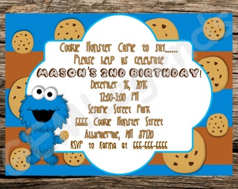 Cookie monster invitation etsy cookie monster birthday invitation cookie monster party cookie monster invitation cookie monster printable filmwisefo