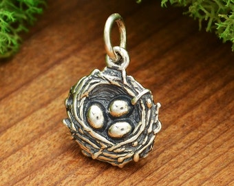 Sterling silver bird nest charm - three eggs - kits - diy jewelry - add to your necklace