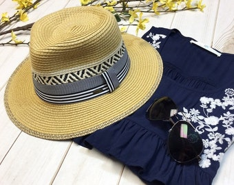 Woven Sun Panama Hat with Navy Trim | Must-Have for Spring and Summer!