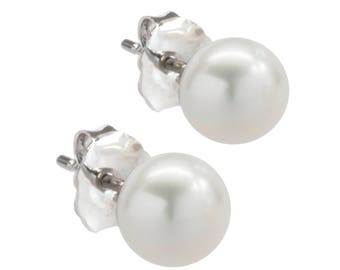 Freshwater Cultured Pearl Stud Earrings, 925 Sterling Silver