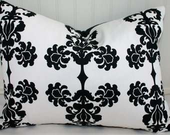 Black and White Damask Pillow Cover / 16 X 20 / Designer Fabric with Black Canvas Back / Handmade Home Decor Accent Pillows