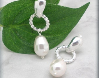 White Pearl Earrings, Twisted Wire Posts, Stud Earrings, Sterling Silver, Bridesmaid Gift, Bridesmaid Jewelry, Wedding Jewelry