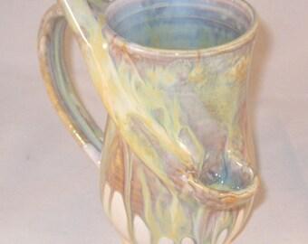 Handmade Ceramic Rainbow and White Wake N Bake Mug