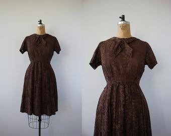vintage 1950s dress / 50s brown dress / 50s burnout dress / 50s brown floral dress / 50s day dress / 50s ascot dress / 50s full skirt / med