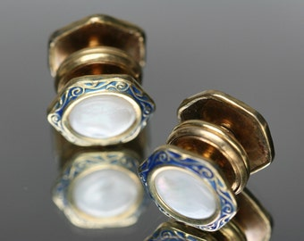 Vintage Kum-A-Part Gold Tone and Shell Cufflinks - B & W Co