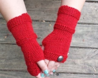 Knit Fingerless Gloves - Red Fingerless Gloves with Vintage Buttons - Fingerless Gloves - Upcycled Gloves - ON SALE