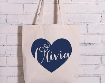 Personalized Bridesmaid Tote Bag, Name in Heart Bridesmaid Bag, Bridesmaid Gift Bag, Bridal Party Gifts, Personalized Name Canvas Bag