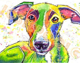 WHIPPET PRINT Picture Lurcher Greyhound Dog Painting Art of Original Watercolour Painting Watercolor Hound Sighthound by Josie P