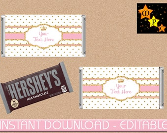 Royal Princess, Hersheys Chocolate 1.55oz Wrapper, Customized, Pink and Gold, Instant Download, Editable, Printable, DIY, RPPG1