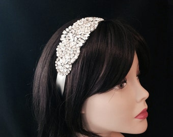 Bridal Headband- Rhinestone and Pearl Bridal Headband- Bridal Headpiece- Couture Rhinestone Bridal Headband