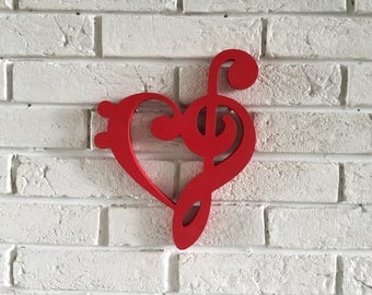 Musical wooden sign decoration - Treble clef and Bass clef heart - wall decor sign - Home decor - music lovers gift, music room decoration