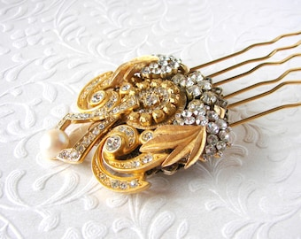 Vintage Jewelry Hair Comb Rhinestone Jeweled Hairpiece Pearl Gold Wedding Headpiece Bridal Formal Boho Chic Bride Formal Evening Pageant