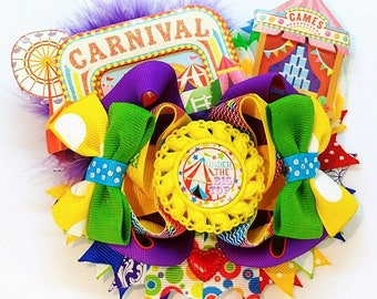 Under The Big Top Circus Carnival Jumbo OTT Hair Bow Festival