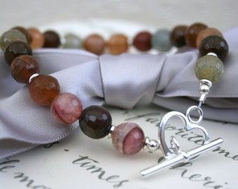 Multicolor Agate bracelet with Sterling Silver - Cracked and faceted Agate