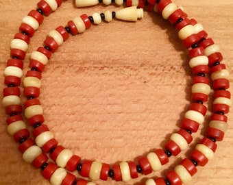 Vintage natural Red Coral and Bone Necklace