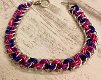 Silver Chainmaille bracelet, orbital vipera berus bracelet,  chainmaille bracelet