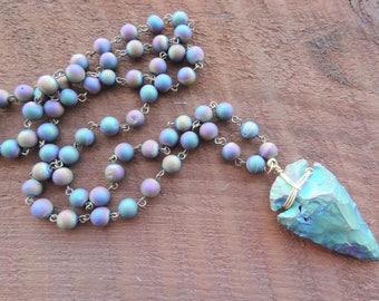 Arrowhead Necklace, Rainbow Druzy Mala Necklace, Rosary Necklace, Healing Necklace, Yoga Bracelet, Chakra Necklace, Buddhist Bracelet