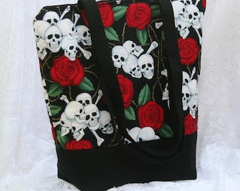Skulls and Roses Fully Insulated Lunch Bag-Tote-Eco-Friendly and Washable-Water and Mildew Resistant Interior -Large-Tall Size