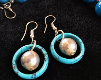 Turquoise Earrings with Silver Balls and Hooks