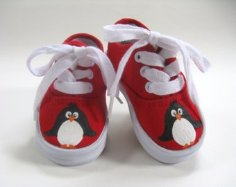 Penguin Shoes, Red Christmas Sneakers Hand Painted For Baby and Toddler, Zoo Animals
