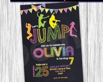 50%Off Jump Invitation, Jump Birthday Party, Jump Invite, Bounce House Invitation, Trampoline Party Birthday Invitation, Jump Party, Jump in