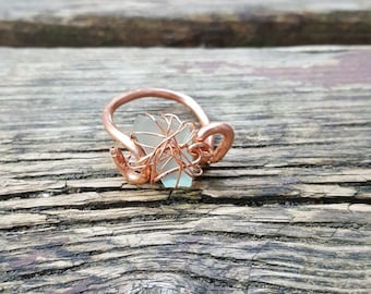 Copper and sea glass ring