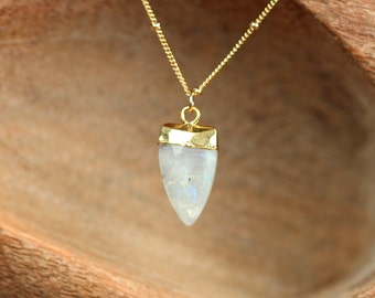 Moonstone necklace - rainbow moonstone - crystal necklace - triangle necklace - a gold topped moonstone on a 14k gold filled satellite chain