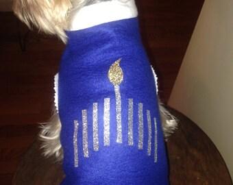 Hanukkah Stretch fleece pull over for dogs.