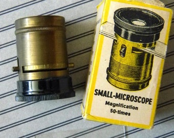 Beautiful Condition Vintage Brass Pocket Microscope Floroscope. 50X power. Made in Germany. For Botany, Mineralogy, Entomology. Very Cool!