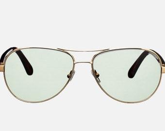 Handmade retro sunglasses. Aviator with green lenses