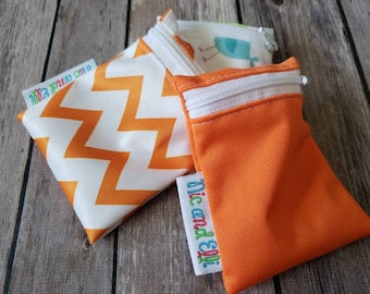 Wetbag Minis Set of 3 ~ Travel Size Mini Zippered Orange WetBag ~ Binky Bag ~ Cosmetic Purse Bag