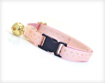 """Cat Collar - """"Cotton Candy"""" - Peachy Pink with Gold Polka Dots - Breakaway Safety Buckle or Non-Breakaway - Sizes for Cat, Kitten, Small Dog"""