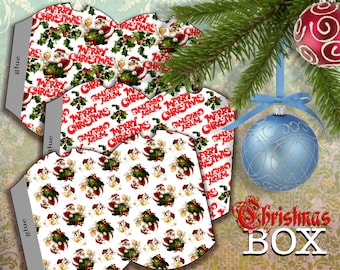 MERRY CHRISTMAS -   3 Printable Pillow Boxes - Digital Image Sheet Download Box - Print and Cut