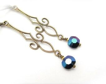 Art Deco Earrings, Dainty Vintage Blue Crystals, Long Dangle Chandelier, Art Nouveau Jewelry, Vintage Crystal Earrings, Clip On