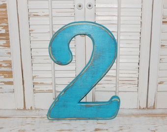 Number 2 Distressed Wood Numbers 12 inch Wall Decor Birthday Photo Props Numbers Birthday