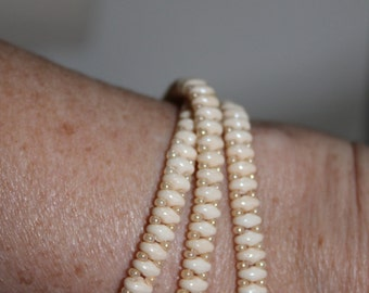 Ivory triple-wrap beaded bracelet